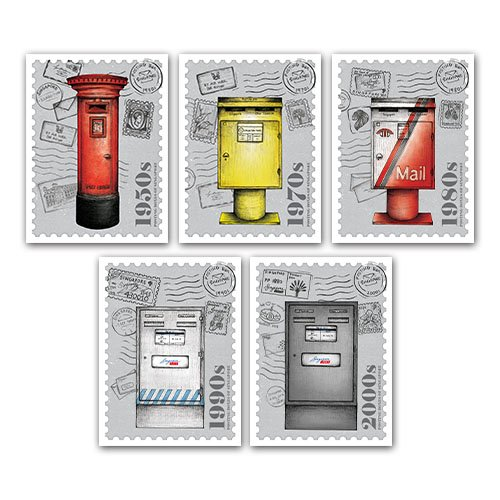 Posting Boxes of Singapore Postcards in a set of 5 Design (without stamps)