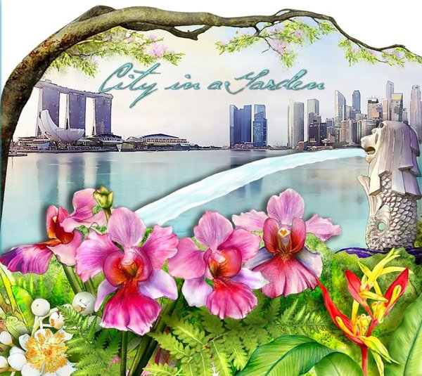 City in a Garden II Collection - Greetings from Singapore Folder