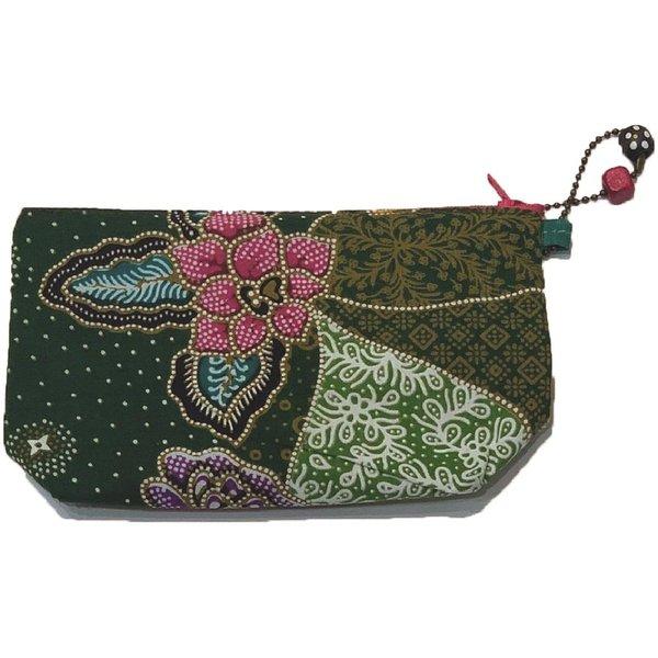 Batik Cosmetic Purse by Art Adornment, Dark Green