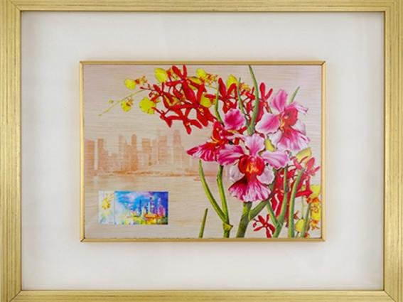 City in a Garden II Collection - Orchids Wood Print