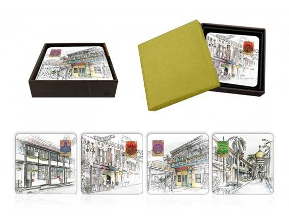 Singapore Traditional Sites - Lacquer Coaster Set Of 4