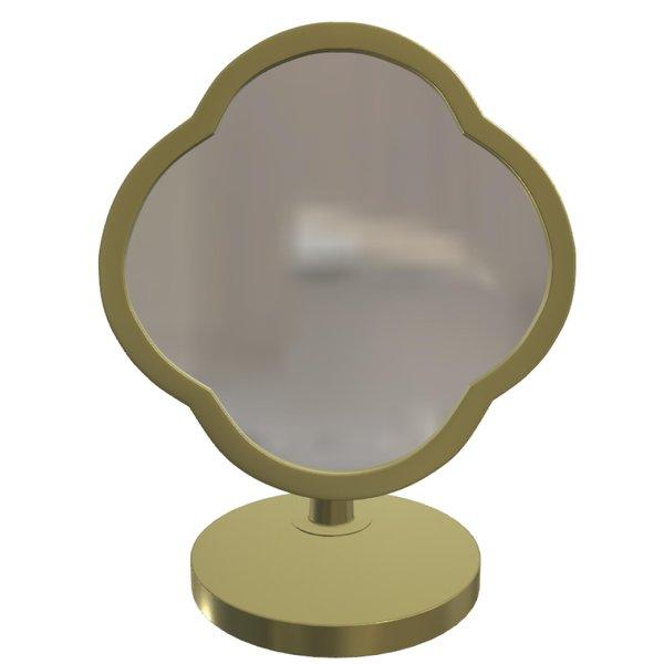Peranakan Desk Mirror, Antique Brass Frame