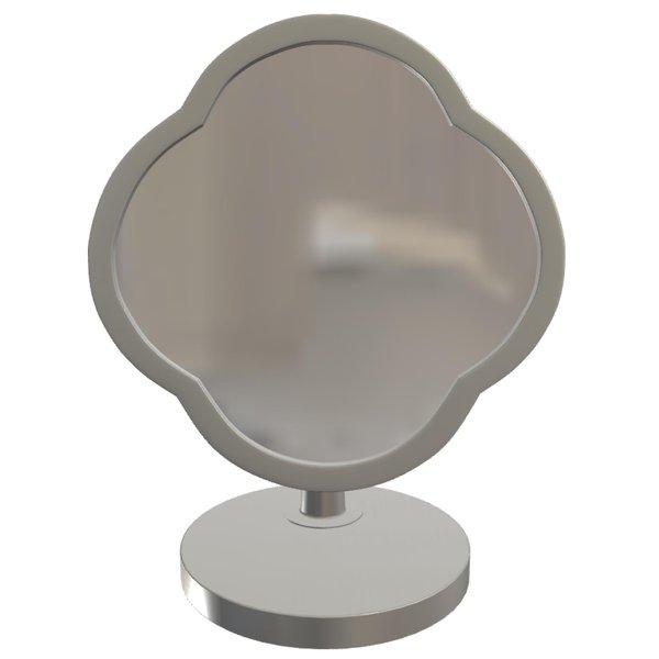 Peranakan Desk Mirror, Polished Steel Frame