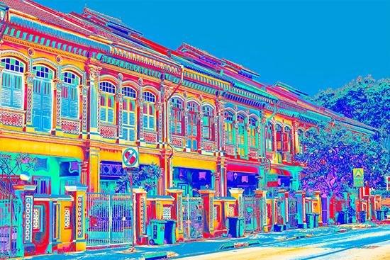Joo Chiat Shophouses - Blue