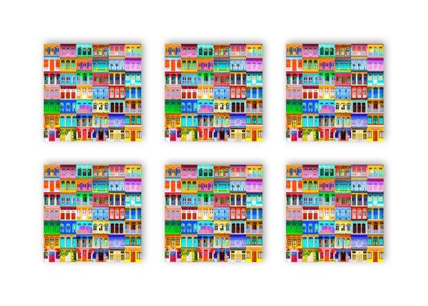 Shophouses Cork Coaster