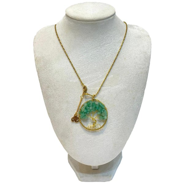 Tree of Life Pendants by Art Adornment, Green Agate