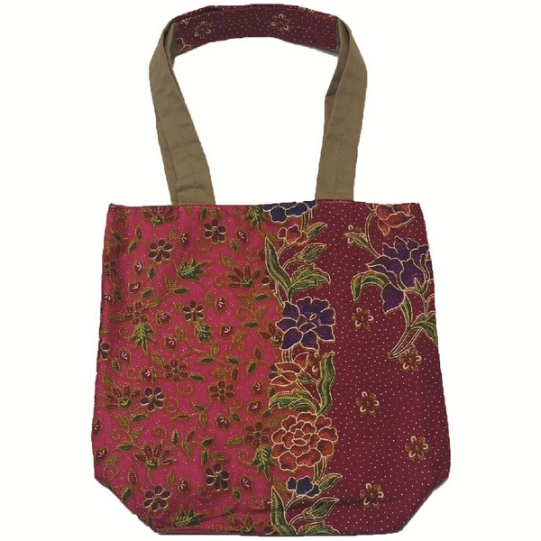 Reversible Tote Bag by Art Adornment, Red-Pink