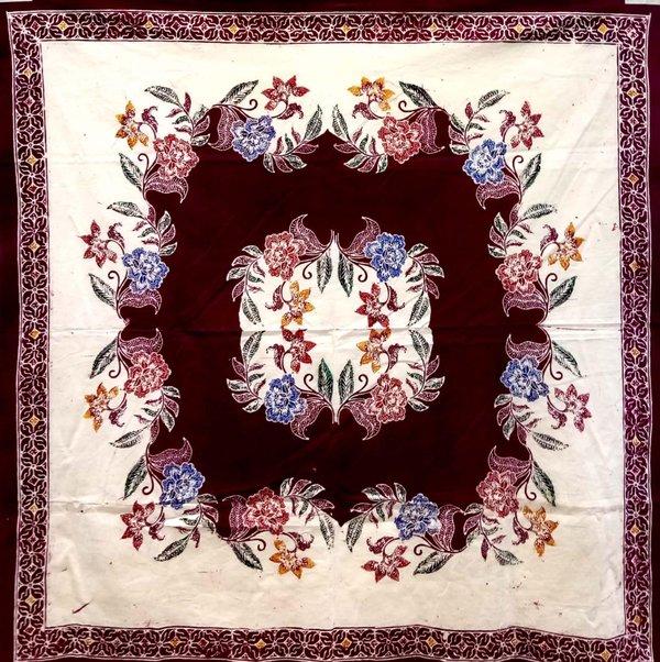 Batik Square Table Cloth Maroon