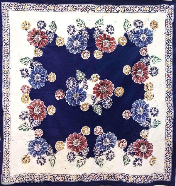 Batik Square Table Cloth Navy Blue