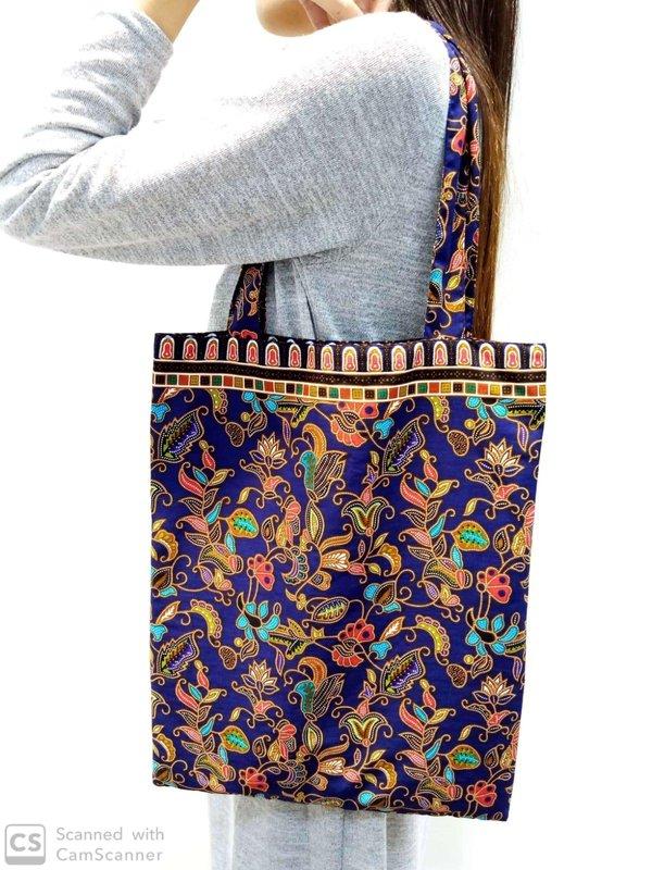 Batik Tote Bag - Navy