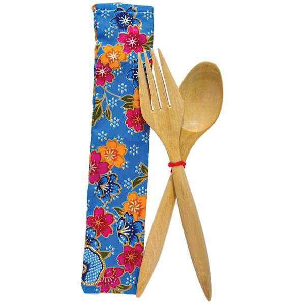 Wooden Fork and Spoon by Art Adornment, Blue