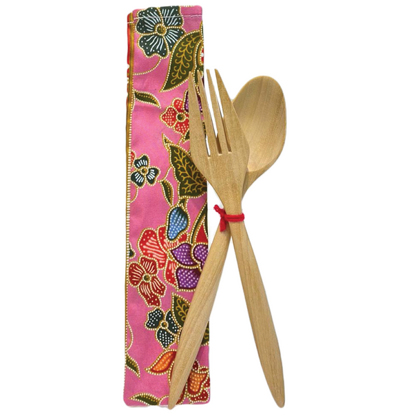 Wooden Fork and Spoon by Art Adornment, Pink